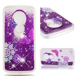 Purple Flower Butterfly Dynamic Liquid Glitter Quicksand Soft TPU Case for Motorola Moto E5 Plus
