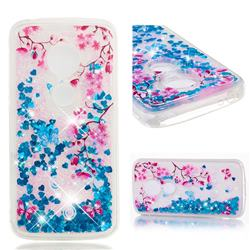 Blue Plum Blossom Dynamic Liquid Glitter Quicksand Soft TPU Case for Motorola Moto E5 Plus