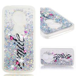 Smile Flower Dynamic Liquid Glitter Quicksand Soft TPU Case for Motorola Moto E5 Plus