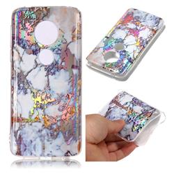 Gold Plating Marble Pattern Bright Color Laser Soft TPU Case for Motorola Moto E5 Plus