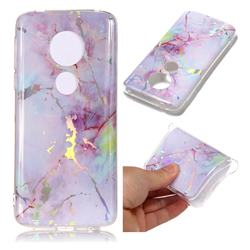 Pink Purple Marble Pattern Bright Color Laser Soft TPU Case for Motorola Moto E5 Plus