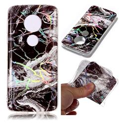 White Black Marble Pattern Bright Color Laser Soft TPU Case for Motorola Moto E5 Plus
