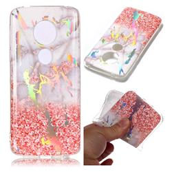 Powder Sandstone Marble Pattern Bright Color Laser Soft TPU Case for Motorola Moto E5 Plus