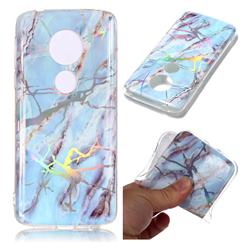 Light Blue Marble Pattern Bright Color Laser Soft TPU Case for Motorola Moto E5 Plus
