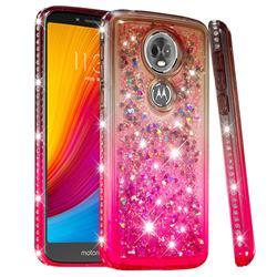 Diamond Frame Liquid Glitter Quicksand Sequins Phone Case for Motorola Moto E5 Plus - Gray Pink