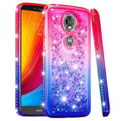Diamond Frame Liquid Glitter Quicksand Sequins Phone Case for Motorola Moto E5 Plus - Pink Blue