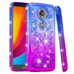 Diamond Frame Liquid Glitter Quicksand Sequins Phone Case for Motorola Moto E5 Plus - Blue Purple