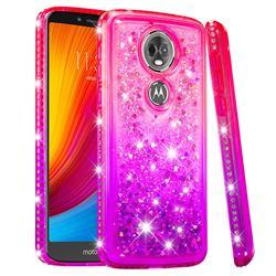 Diamond Frame Liquid Glitter Quicksand Sequins Phone Case for Motorola Moto E5 Plus - Pink Purple