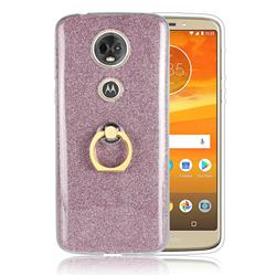 Luxury Soft TPU Glitter Back Ring Cover with 360 Rotate Finger Holder Buckle for Motorola Moto E5 Plus - Pink