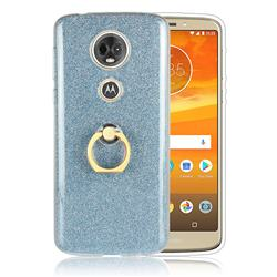 Luxury Soft TPU Glitter Back Ring Cover with 360 Rotate Finger Holder Buckle for Motorola Moto E5 Plus - Blue