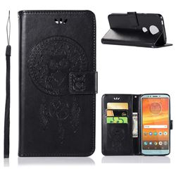Intricate Embossing Owl Campanula Leather Wallet Case for Motorola Moto E5 Plus - Black
