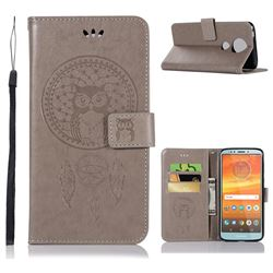 Intricate Embossing Owl Campanula Leather Wallet Case for Motorola Moto E5 Plus - Grey