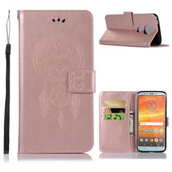 Intricate Embossing Owl Campanula Leather Wallet Case for Motorola Moto E5 Plus - Rose Gold