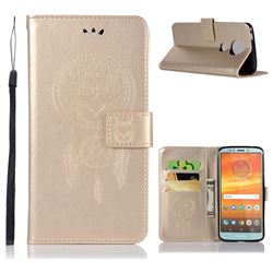 Intricate Embossing Owl Campanula Leather Wallet Case for Motorola Moto E5 Plus - Champagne