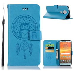 Intricate Embossing Owl Campanula Leather Wallet Case for Motorola Moto E5 Plus - Blue