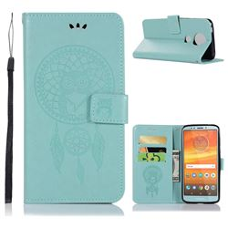 Intricate Embossing Owl Campanula Leather Wallet Case for Motorola Moto E5 Plus - Green