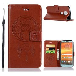 Intricate Embossing Owl Campanula Leather Wallet Case for Motorola Moto E5 Plus - Brown