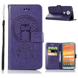 Intricate Embossing Owl Campanula Leather Wallet Case for Motorola Moto E5 Plus - Purple