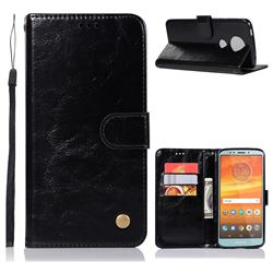 Luxury Retro Leather Wallet Case for Motorola Moto E5 Plus - Black