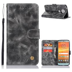 Luxury Retro Leather Wallet Case for Motorola Moto E5 Plus - Gray