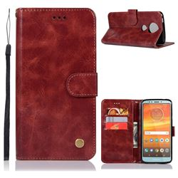 Luxury Retro Leather Wallet Case for Motorola Moto E5 Plus - Wine Red