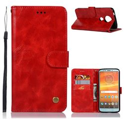 Luxury Retro Leather Wallet Case for Motorola Moto E5 Plus - Red