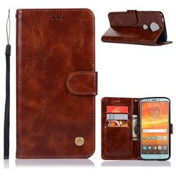 Luxury Retro Leather Wallet Case for Motorola Moto E5 Plus - Brown