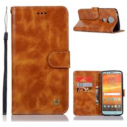 Luxury Retro Leather Wallet Case for Motorola Moto E5 Plus - Golden