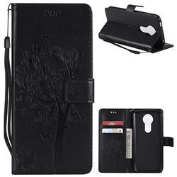 Embossing Butterfly Tree Leather Wallet Case for Motorola Moto E5 Plus - Black