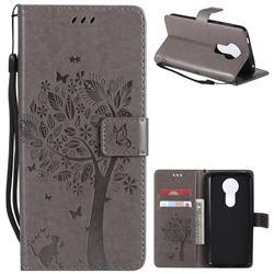 Embossing Butterfly Tree Leather Wallet Case for Motorola Moto E5 Plus - Grey