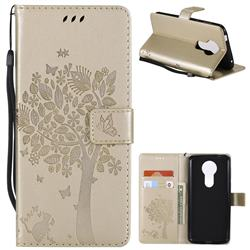 Embossing Butterfly Tree Leather Wallet Case for Motorola Moto E5 Plus - Champagne