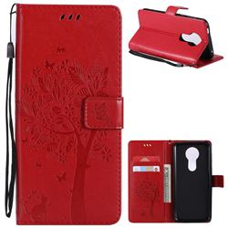 Embossing Butterfly Tree Leather Wallet Case for Motorola Moto E5 Plus - Red