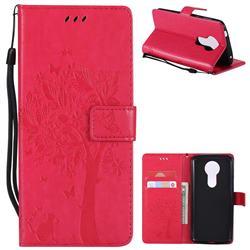 Embossing Butterfly Tree Leather Wallet Case for Motorola Moto E5 Plus - Rose