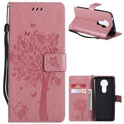 Embossing Butterfly Tree Leather Wallet Case for Motorola Moto E5 Plus - Pink