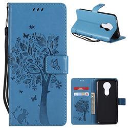 Embossing Butterfly Tree Leather Wallet Case for Motorola Moto E5 Plus - Blue
