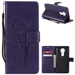 Embossing Butterfly Tree Leather Wallet Case for Motorola Moto E5 Plus - Purple