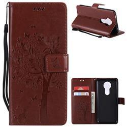 Embossing Butterfly Tree Leather Wallet Case for Motorola Moto E5 Plus - Brown