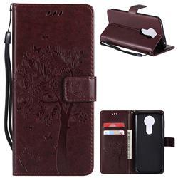 Embossing Butterfly Tree Leather Wallet Case for Motorola Moto E5 Plus - Coffee