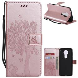 Embossing Butterfly Tree Leather Wallet Case for Motorola Moto E5 Plus - Rose Pink