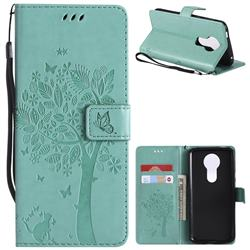 Embossing Butterfly Tree Leather Wallet Case for Motorola Moto E5 Plus - Cyan