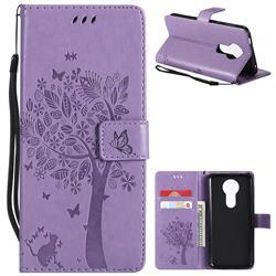 Embossing Butterfly Tree Leather Wallet Case for Motorola Moto E5 Plus - Violet
