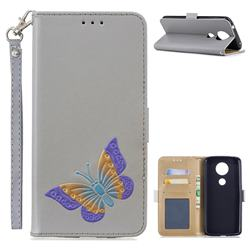 Imprint Embossing Butterfly Leather Wallet Case for Motorola Moto E5 Plus - Grey