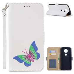Imprint Embossing Butterfly Leather Wallet Case for Motorola Moto E5 Plus - White