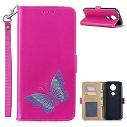 Imprint Embossing Butterfly Leather Wallet Case for Motorola Moto E5 Plus - Rose Red