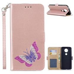 Imprint Embossing Butterfly Leather Wallet Case for Motorola Moto E5 Plus - Rose Gold