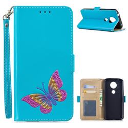 Imprint Embossing Butterfly Leather Wallet Case for Motorola Moto E5 Plus - Sky Blue