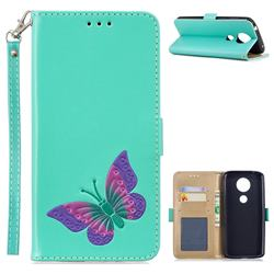 Imprint Embossing Butterfly Leather Wallet Case for Motorola Moto E5 Plus - Mint Green