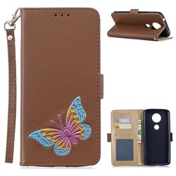 Imprint Embossing Butterfly Leather Wallet Case for Motorola Moto E5 Plus - Brown