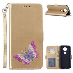 Imprint Embossing Butterfly Leather Wallet Case for Motorola Moto E5 Plus - Golden