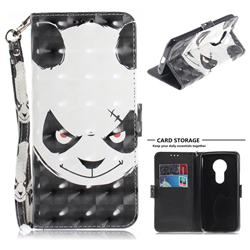Angry Bear 3D Painted Leather Wallet Phone Case for Motorola Moto E5 Plus